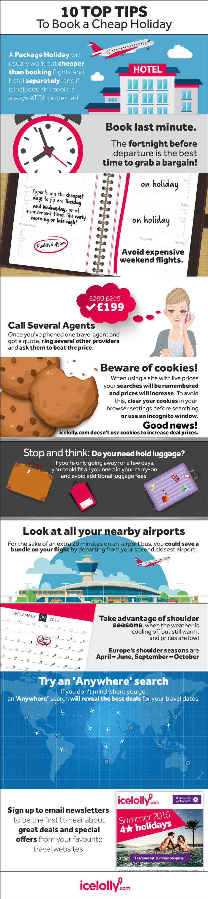 infographic on top ways to find and book a cheap holiday