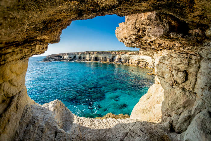 View Of Sea Through Cove In Cyprus