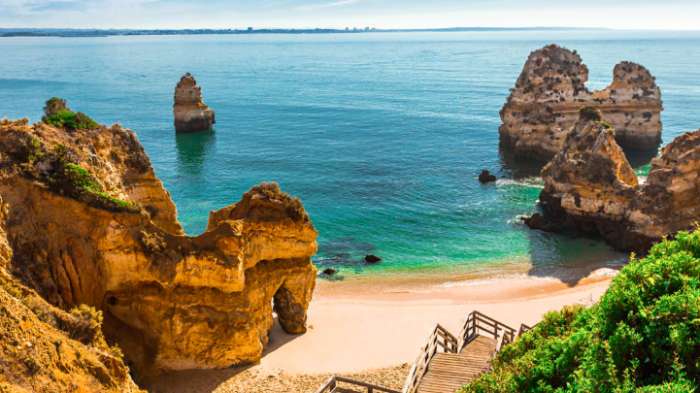 Golden sandy beach in the Algarve