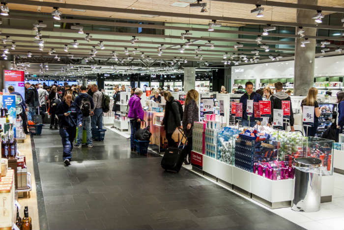 Shoppers at duty free