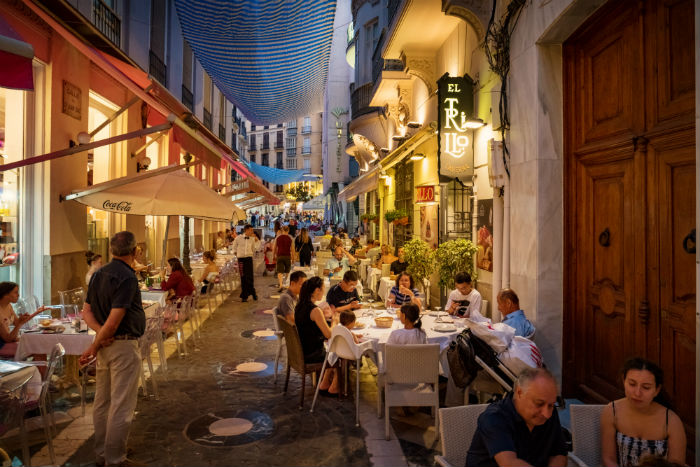 Restaurants Along Street In Spain
