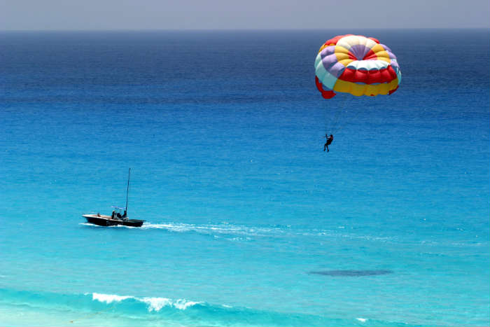 Parasailing over sea
