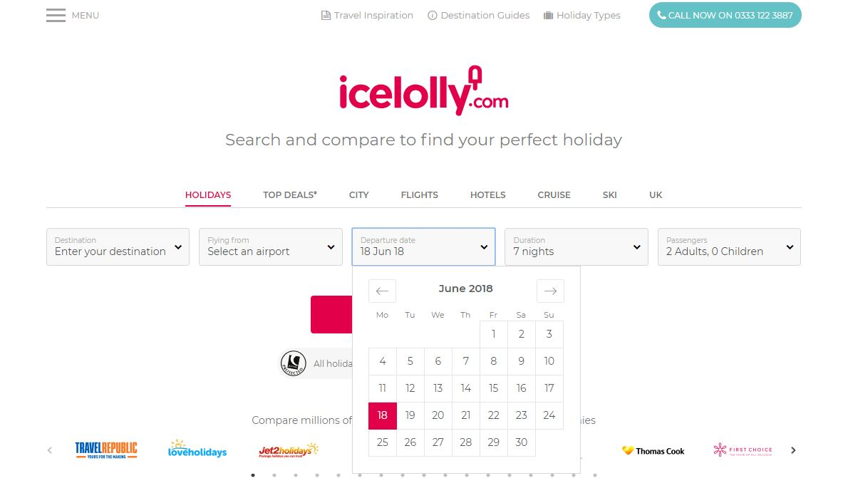 icelolly.com Date Search Bar