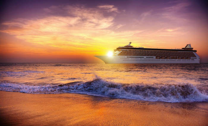 Cruise ship by the shore