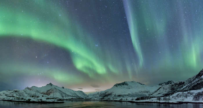 Northern Lights, Norway, in the snow