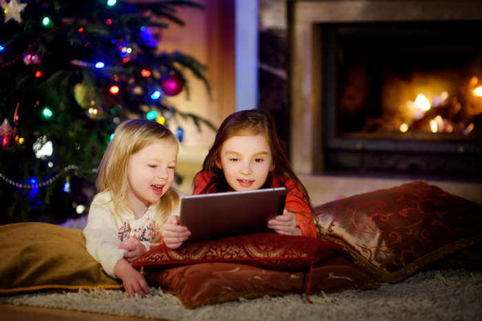 Children On Video Call At Christmas