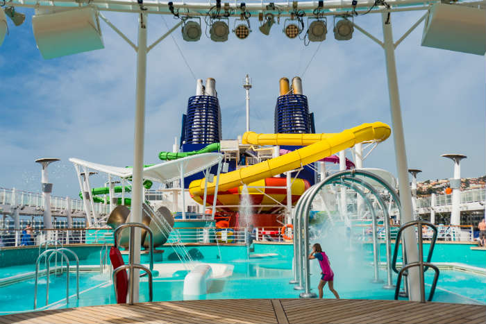 Cruise ship with slides