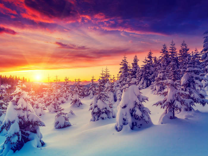 Snowy sunset in Austria