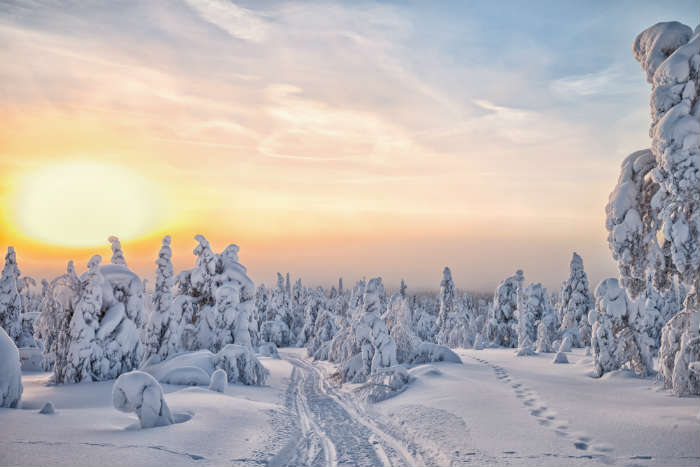 Lapland in the snow, Finland