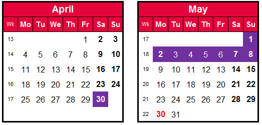 how to make the most of annual leave-early May calendar