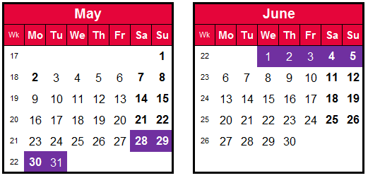 how to make the most of annual leave-late May calendar