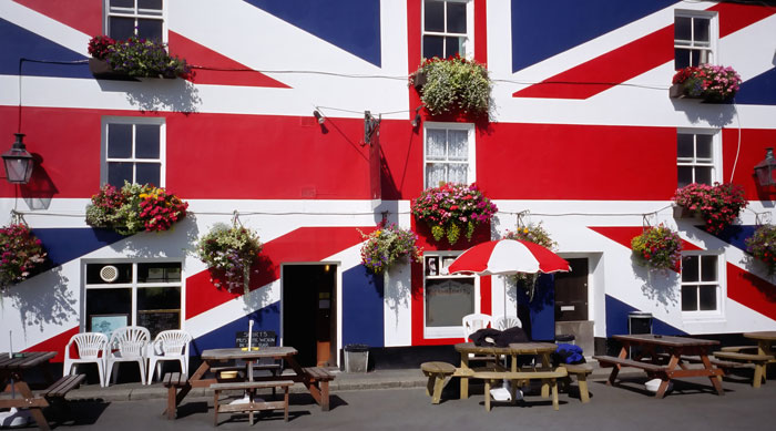 Pub painted with British flag