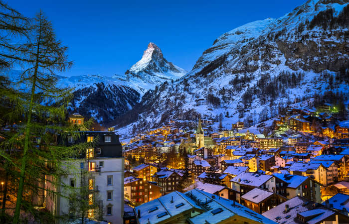 The Matterhorn and winter resort Zermatt in Switzerland