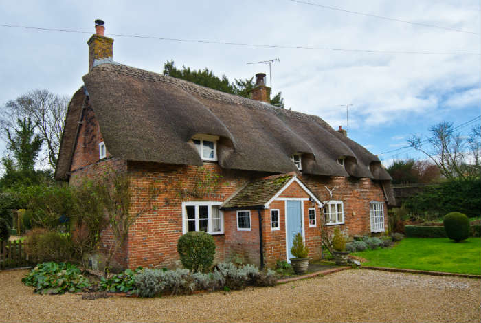 Thatched roof countryside cottage