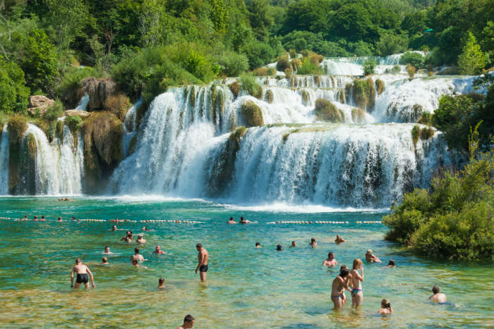 Swimming at Krka national park, Croatia