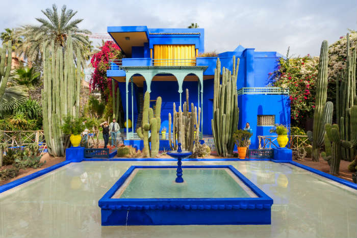 Blue buildings of the jardin de marjorelle