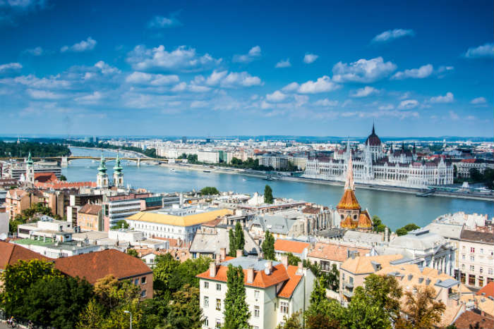 Aerial view of Budapest from Buda Hill
