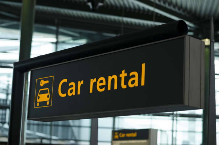 Renting a car abroad - sign