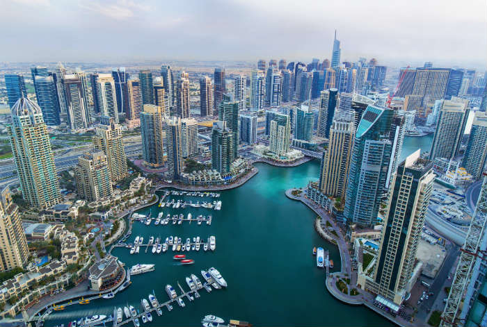 Aerial view of Dubai Marina, UAE
