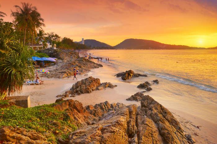 Beach sunset in Phuket, Thailand
