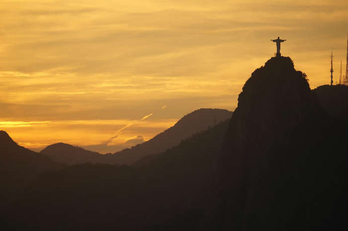 Sunset over Christ the Redeemer