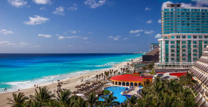 Cancun hotel and beach