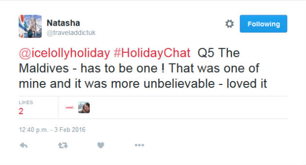 Natasha Holiday Chat Tweet