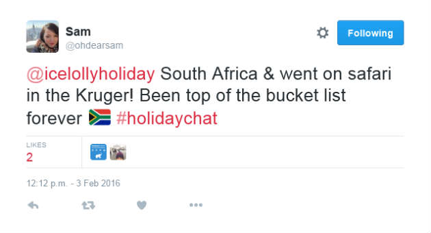 Sam Holiday Chat Tweet