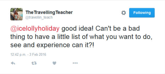 The Travelling Teacher Holiday Chat Tweet
