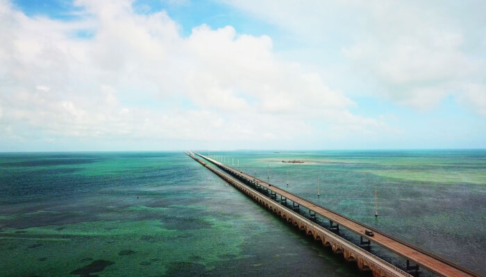 Cars on bridge driving through Florida Keys