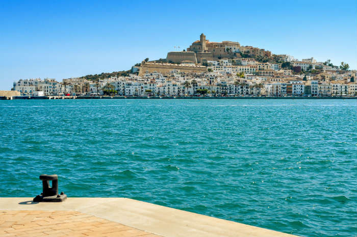 Looking across water to Dalt Vila in Ibiza