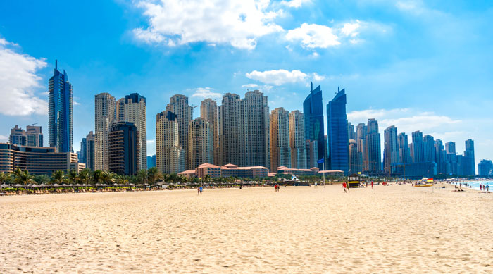 Dubai beach and skyscraper view