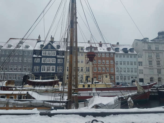 Nyhavn harbour in the snow