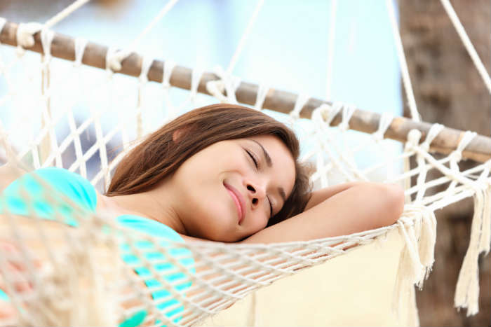 Sleeping on a hammock on holiday
