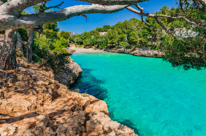 Quiet beach in cove in Majorca