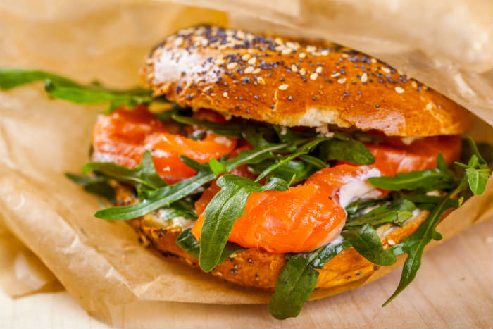 New York salmon and cream cheese bagel