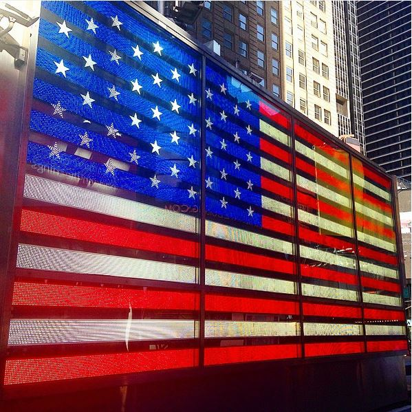 new york on instagram-times square usa flag