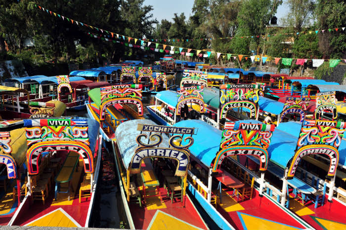 Boats at floating market, Mexico City, Mexico