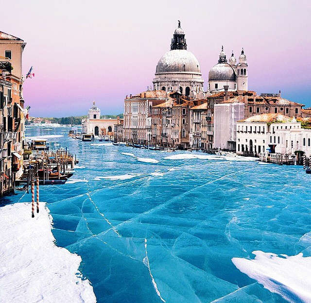 Frozen canals in Venice