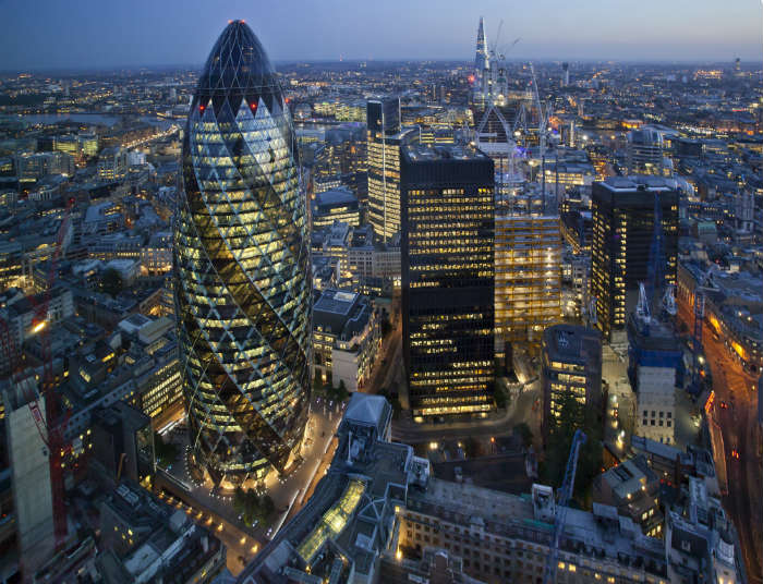 View of the Gherkin and London