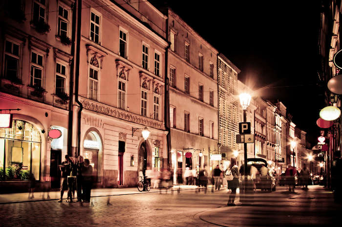 Street in Krakow at night