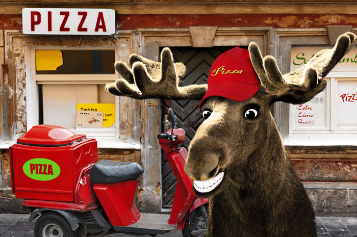 Chris Moose delivering pizza