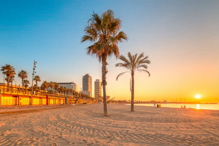 Barceloneta beach in Barcelona at sunset