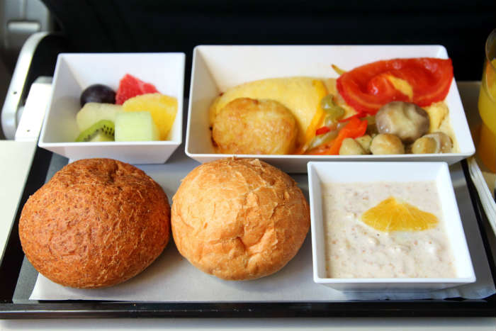 Aeroplane meal on tray