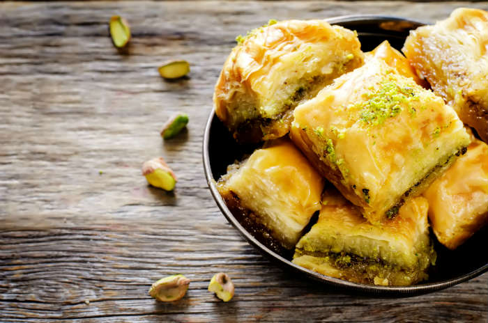 Baklava with pistachios, nuts and honey