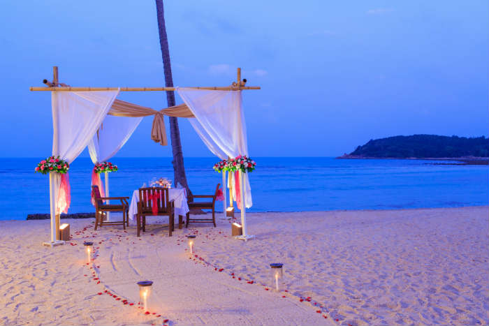 Romantic meal on beach