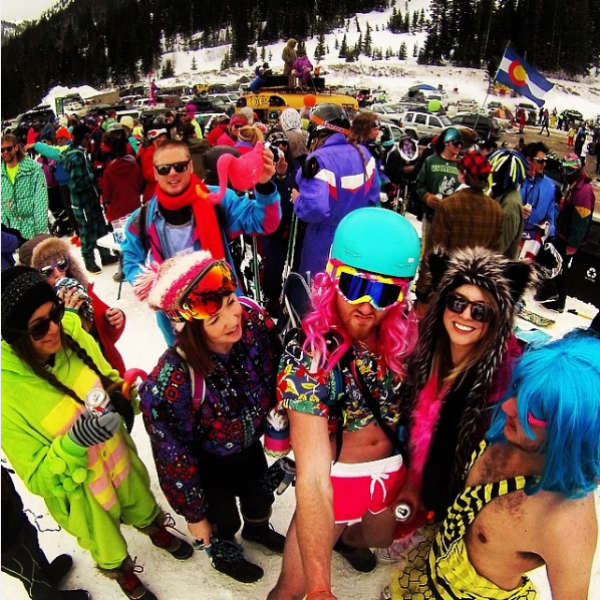 group of students on a ski holiday