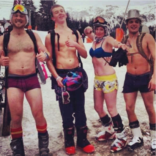 Skiiers not in fancy dress