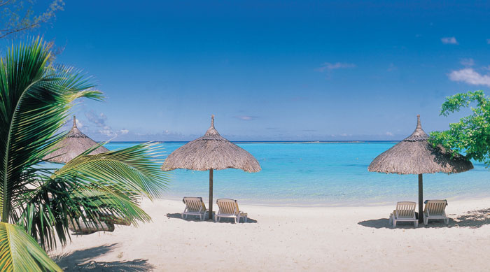 Where's Hot October - Beach parasols in Mauritius