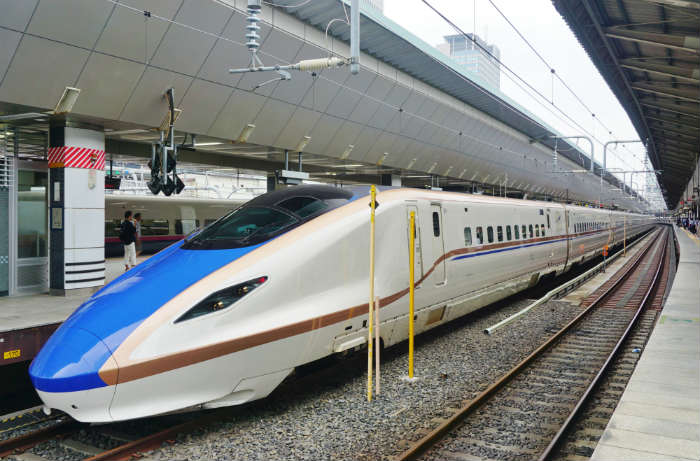Shinkansen bullet train in Japan
